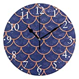 Zseeda StylisPink Blue FisScale Relojes de Pared Funciona con Pilas Reloj de Pared Redondo Decorativo para el hogar 9.4 Inc