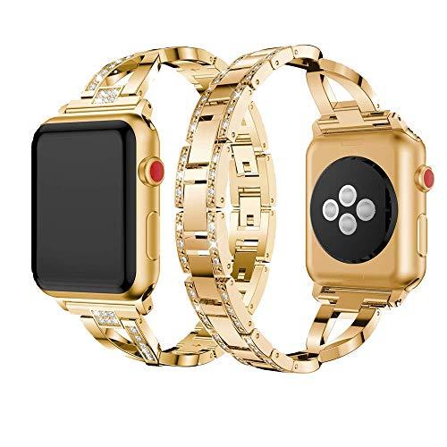 Dassions Metal Cuff Bangle Bracelet Bling Rhinestone Diamond Wristband X-Link Glitzy Strap Band for Apple Watch Band 42mm 44mm Women Iwatch Series 6 Series 5 4 3 2 1 SE (42mm/44mm Gold)