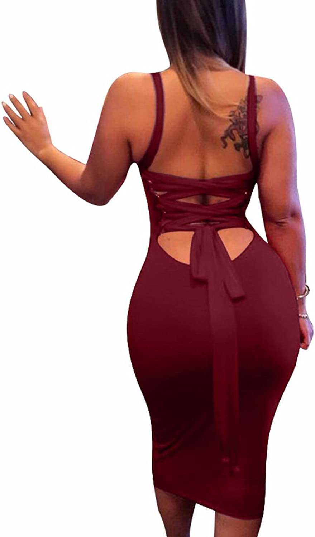 BEAGIMEG Women's Sexy Lace Up Backless Bodycon Midi Party Club Dress
