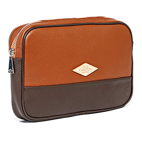 Bob Carlton Men's Wallet – Men's Business Bag 29 x 19 x 4 cm – Men's Leather Bag – Casual Elegance (Light Brown Grained Leather and Chocolate)