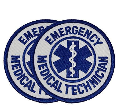 "Emergency Medical Services Technician Shoulder Patch, Badge Reflective (EMT) - 2 Pack Blue 3.5"" Circle Embroidered"