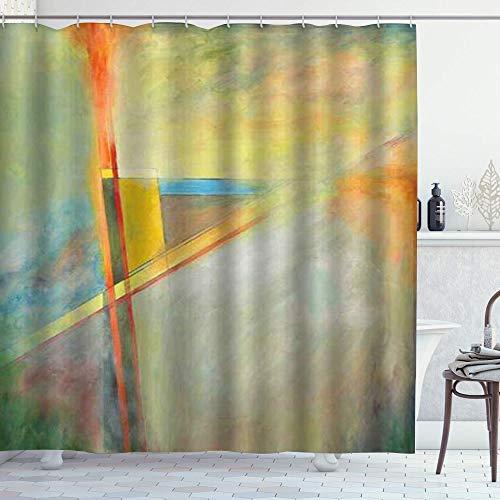 DYCBNESS Duschvorhang,Abstraktes Dreieck der modernen Kunst,Vorhang Waschbar Langhaltig Hochwertig Bad Vorhang Polyester Stoff Wasserdichtes Design,mit Haken 180x180cm