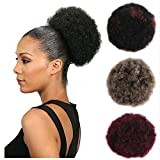 BESTUNG Grey mixed Brown Afro Puffy Drawstring Ponytail Bun Hairpieces for Black Women Synthetic Kinky Curly Clip in Hair Extensions for African American (Blonde Grey)