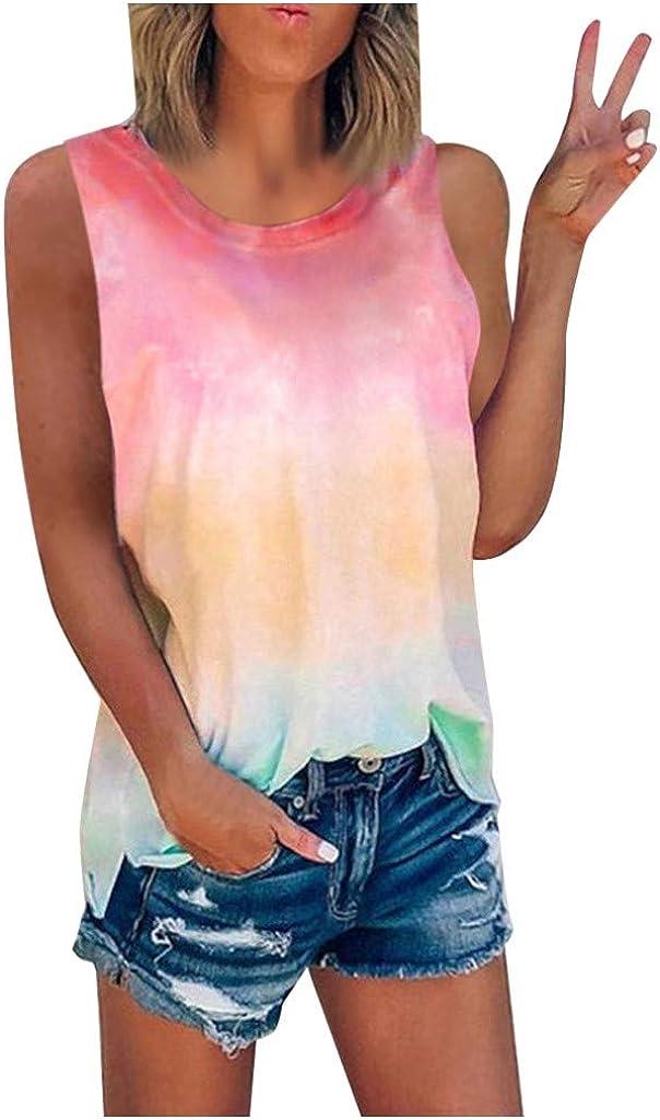 Tank Tops for Women, Women's Tie-Dye Tank Shirt Crewneck Casual Sleeveless Summer Tees Tops Plus Size S-5XL