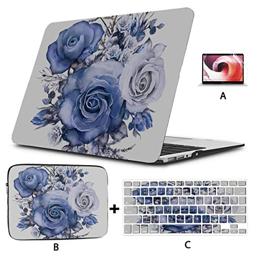 Macbook Pro 2017 Case Blue Rose Seasonal Elegant Flowers 13inch Macbook Air Case Hard Shell Mac Air 11'/13' Pro 13'/15'/16' With Notebook Sleeve Bag For Macbook 2008-2020 Version