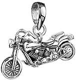 Silberner Motorrad Big Bike Anhänger für Ketten von Kuzzoi aus massivem 925er Sterling Silber für Halsketten, sehr hochwertig und exklusiv 361368-000