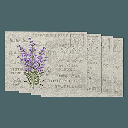 Moslion Lavender Place Mats Set of 4. Vintage Flower Botanical Bouquet Floral Garden for Wedding Stamp Cotton Linen Placemats 12x18 Inch for Dinner Kitchen Table Dining Room