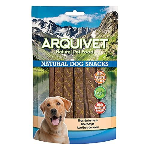 Arquivet Pack 12 Unidades Snack Tiras de Ternera 100 gr - Natural Dog Snacks - 100% Natural - Chuches, premios, golosinas para Perros - Producto Light - Muy Rico en nutrientes