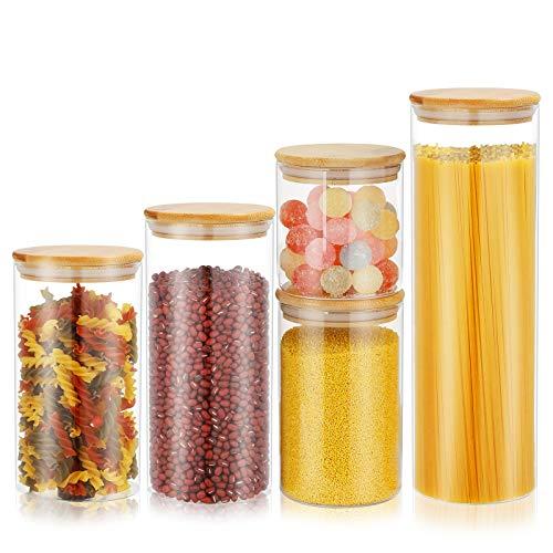 Bossjoy Vorratsgläser 5er-Set Glasgewürzgläser luftdichtes Glas Lebensmittelvorratsbehälter mit Bambusdeckel für Sugar Candy Cookie Rice Spice Gläser