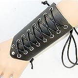 tggh Armadura de brazo de una pieza de cuero sintético calentadores de brazos con cordones pulsera ancha de armadura de brazo de protección Cosplay (color: A-Negro)
