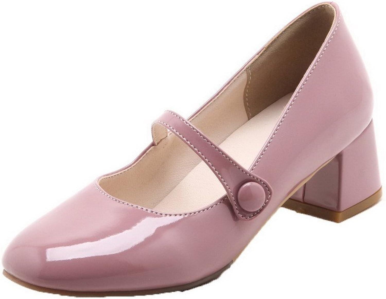 AllhqFashion Women's Kitten-Heels Patent Leather Pumps-shoes