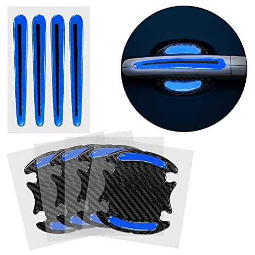 kwmobile 8X Universal Auto Türgriff Lackschutzfolie - Folie - Schutzfolie Griffmulden und Griff Schwarz Blau 9,1 x 8,3 + 13 x 1,7 cm