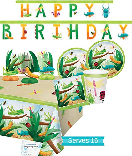 Bug Party Supplies and Decorations - Bug Party Plates and Napkins Cups for 16 People - Includes Insect Birthday Banner, Tablecloth and Centerpiece - Perfect Insect Birthday Party Decorations and Bug Birthday Party Supplies!