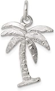 925 Sterling Silver Solid Polished Palm Tree Charm