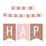 make your own banner kit - Andaz Press Personalized Hanging Pennant Banner Party Decorations, Rose Gold Glitter, Blush Pink, Happy 4th Birthday Olivia, 1-Pack, Approx. 5-Feet, Custom Name and Number