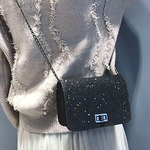 Fanville Schoudertas voor dames, paillettenketting, mode voor mobiele telefoon, party, vrouwen, schoudertas, grote schoudertassen zwart