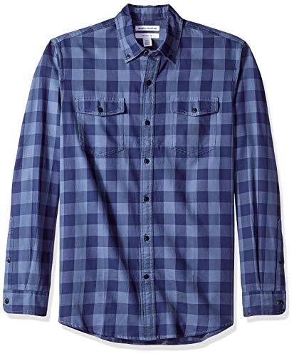 Amazon Essentials - Camisa de sarga ajustada con dos bolsillos y manga larga para hombre, Azul (Navy Buffalo Nbf), US S (EU S)