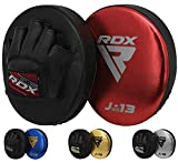 RDX Manoplas de Boxeo Niño Paos Muay Thai MMA Almohadilla Convex y Metalic Cuero Junior Kick Boxing Escudo Patada Entrenamiento Kids Karate Artes Marciales Gancho y Jab Focus Pad