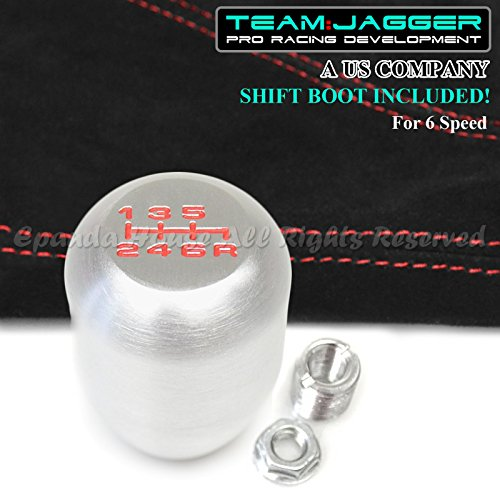 EpandaHouse Team Jagger Red 6-Speed Print Gear Shift Knob Brushed Aluminum M12x1.25 Thread+Suede Boot