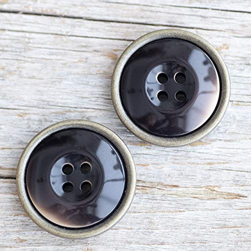 【コート用ボタン】メタル縁デザインボタン #BT241 4穴 25mm C/#61ダークブラウン 2個セット