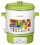 CONCEPT Hausgeräte ZH0020 Concept ZH0020-Olla de Cocina esmaltada con Temporizador, se Puede Utilizar Bebidas, dispensador de Vino Caliente, 27 L, 18000 W, 39 x 63 cm, Color verde, 1800 W, plástico