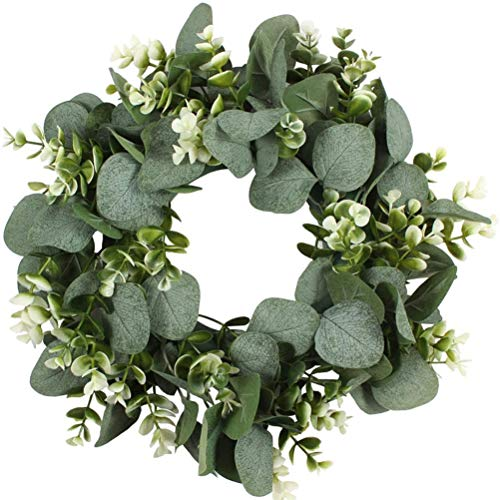 SHELOFT Artificial Green Wreath Wall Hanging Wreath Spring Door Decoration Willow Vines Twigs Leaves Garland for Indoor Outdoor Decoration