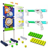 Kids Shooting Game Toy - 2 Foam Blasters & Guns with Mobile Shooting Targets, 2 Player Game Air Gun for 5 6 7 8 10+ Year Old Boys and Girls, Indoor Outdoor Yard Game, Compatible with Nerf Toy Gun