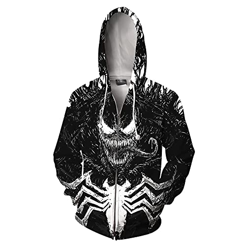 LQ-ZHUOJIAO Unisex Venom Hoodies Spiderman Full Zip Hooded Girls Cosplay Sudadera Superhero...