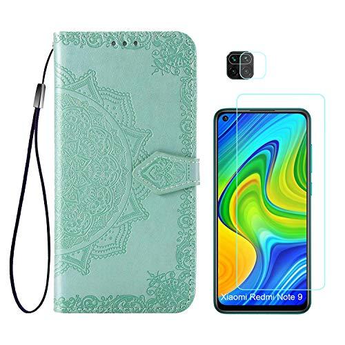 Abuenora Funda para Xiaomi Redmi Note 9 + Protector de Pantalla Cristal Templado + Protector de Cámara Lente, Carcasa Libro con Tapa Flip Case Antigolpes Cartera PU Cuero Mandala Verde