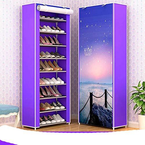 10 capas de tela no tejida zapatero DIY Asamblea almacenamiento zapatos gabinete de pie a prueba de polvo casa zapatos organizador Shlef re-North Star Sky
