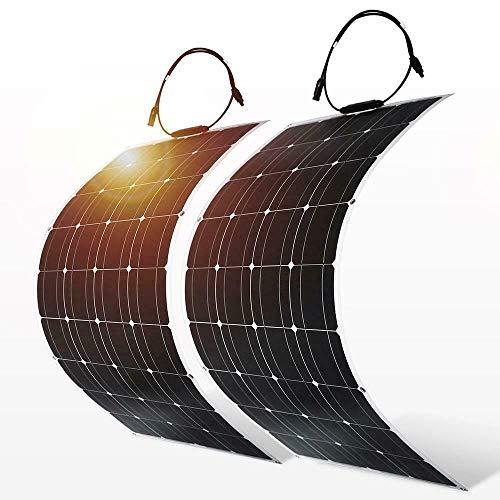 SweepID Flexibel monokristallijn zonnepaneel, 200 watt (2 x 100 W), 12 V, flexibel, waterbestendig, oplader op zonne-energie voor camper, boot, cabine, tent, auto