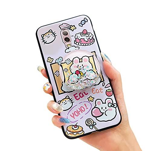 Funda de teléfono para Samsung Galaxy J7 Plus/C8/J7+, Flexible, al Agua, Silicona Original, TPU, Lindas Estrellas, Dibujos Animados, Arena, reducción de estrés, Rosa Conejo y Torta