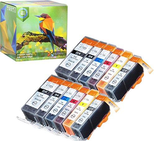 Cartuccia d'inchiostro Ink Hero compatibile in sostituzione dir Canon 571XL, 570XL (Pigmento nero, Nero, Ciano, Magenta, Giallo, Grigio, confezione da 12)