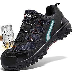Zapatos de Seguridad para Hombre con Puntera de Acero Zapatillas de Seguridad Trabajo, Calzado de Industrial y Deportiva(A Negro,42 EU)