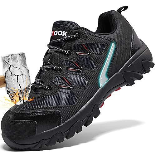 ashion Stahlkappe Sicherheitsschuhe Herren, Industrie Handwerk Schuhe Atmungsaktiv Leichte Reflektierende Arbeitsschuhe(A-Schwarz,45 EU)