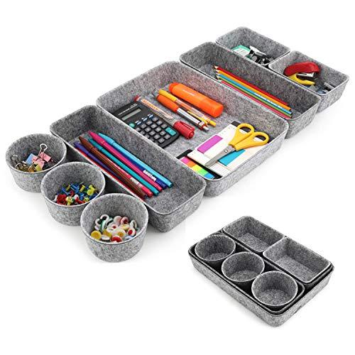 LATTCURE 8 Stück Schubladen Organizer, Ordnungssystem Aus Filz Büroboxen Set Box Schreibtisch Schubladen Organizer Filz Tabletts für Stifte, Radiergummi, Büro, Schule und Haushalt (Grau)
