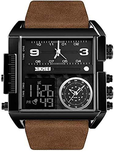 SGHH-Reino Unido Reloj de Hombre Digital Deportivo, Cuadrado LED Cara Grande de Cuarzo analógico Reloj de Pulsera con Multi-Zona horaria a Prueba de Agua cronómetro Reloj análogo Militar, 2pcs