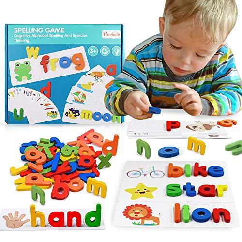 MMTX Scrabble Buchstaben Holz Buchstabe Fliesen zum Spielen, Vorschulerziehung für Kinder Jungen Mädchen Alphabet Scrabblefliesen