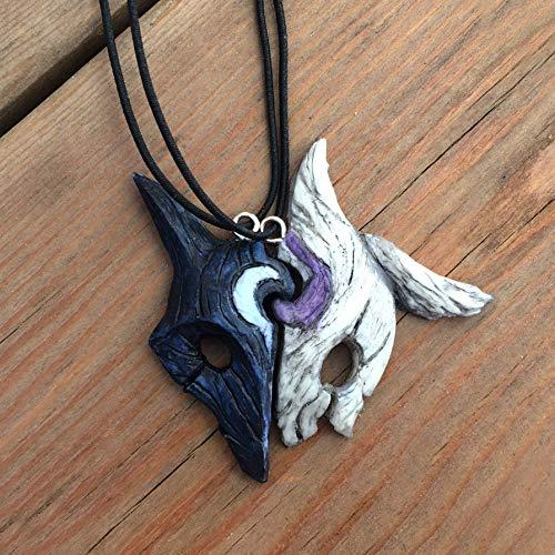 Kindred collares pendientes de medio corazón con lobo y cordero, regalo de pareja y mejores amigos...