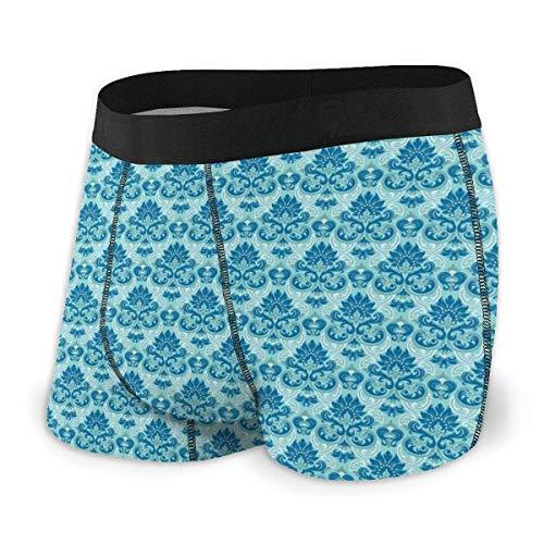 Herren-Boxershorts, blau gefärbtes Muster mit Fliesen-Barock-Einflüssen im westlichen Stil, Größe L.