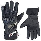 LDM EXOTec Wasserdichte Motorradhandschuhe | Motorrad Handschuhe Windundurchlässig |Zum Motorrad Fahren und Warm für den Winter | Gepanzerte Schutzhandschuhe | Schwarz