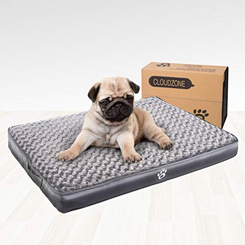 CLOUDZONE Orthopedic Dog Bed with 2-Removable Zipper Covers | Machine Washable Dog Bed Egg-Crate Foam Plush Crate Pad | Pet Bed with Durable PU Leather and Non-Slip Bottom (XL) Grey Beds