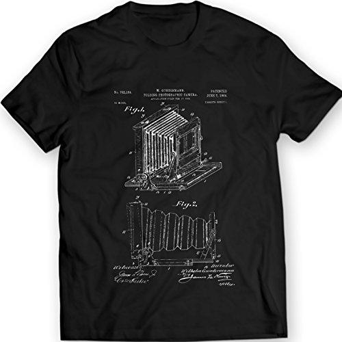 DTG Printing Cámara fotográfica Plegable Vintage Lente Antiguo Zeiss Patentare Camiseta (S, Negro)