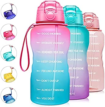Giotto 128oz Motivational Water Bottle with Time Marker & Straw (various)