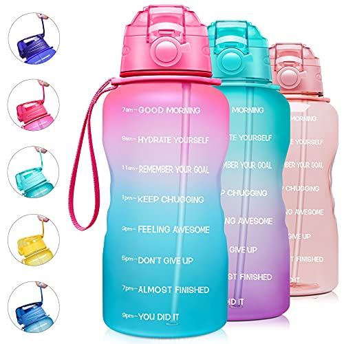 Giotto Large 1 Gallon/128oz Motivational Water Bottle with Time Marker & Straw,Leakproof Tritan BPA Free Water Jug,-Light Pink/Green