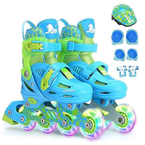 FACAIA Kinder LED Inline Skates mit leuchtenden Rädern Rollschuhe Jungen Mädchen verstellbare Rollschuhe Spaß beleuchtende Rollschuhe Beruf Inline Skates, Pink, S (7.5‐9.5UK / 24‐27EU)
