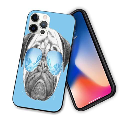 Funda para iPhone 12 Pro 2020, con retrato de pug con gafas de sol de espejo, diseño de animales de compañía, funda fina de TPU para cámara y protección de pantalla, color azul perla