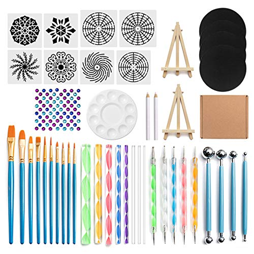 DEARLOYEA 45pcs Mandala Dotting Tool for Painting Rock Stone Stencil Brush Pen Gem Sticker