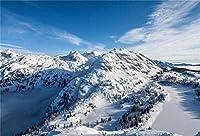 HiYash 10x7ft 高山の背景冬の雪に覆われた風景写真の背景誕生日パーティー赤ちゃんの誕生日の装飾バナー家の装飾と美しい記憶記録ビニール素材