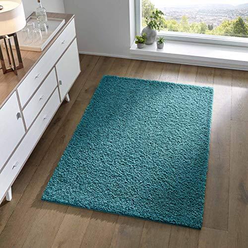 Taracarpet Shaggy Teppich Wohnzimmer Schlafzimmer Kinderzimmer Hochflor Langflor Teppiche modern türkis 060x090 cm